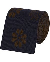 Fumagalli 1891 - Blue And Brown Wool Knitted Patterned Tie - Lyst