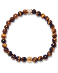 Nialaya - Brown Tiger Eye, Gold And Cz Diamond Beaded Bracelet - Lyst