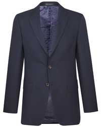New & Lingwood - Navy Yarmouth Hopsack Wool Single-breasted Jacket - Lyst