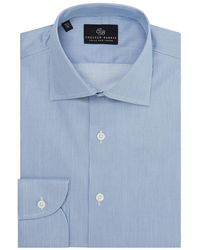 Chester Barrie - Blue And White Twill Stripe Spread Collar Shirt - Lyst