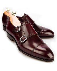 Carmina - Burgundy Cordovan Leather Double Monk Straps - Lyst