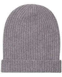 Anderson & Sheppard - Light Grey Cashmere Ribbed Beanie - Lyst