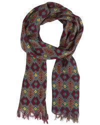 Anderson & Sheppard - Red Wool And Silk Ikat Scarf - Lyst