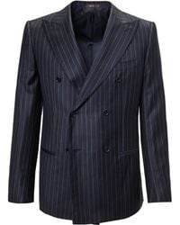 Cifonelli - Blue Pinstripe Double-breasted Two Piece Wool Suit - Lyst