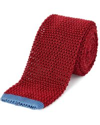 Chester Barrie - Red Knitted Silk Tie - Lyst