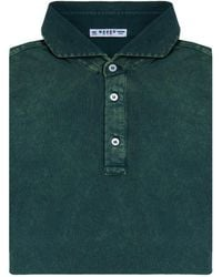 Naked Clothing - Green Short Sleeve Pique Acid Washed Cotton Polo Shirt - Lyst