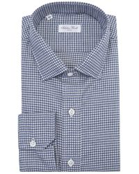 Salvatore Piccolo - Blue And White Check Long Sleeve Cotton Shirt - Lyst