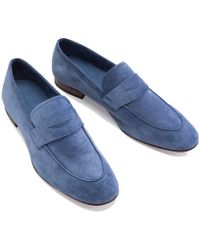Cifonelli - Blue Suede Penny Loafer - Lyst