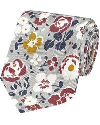 Salvatore Piccolo - Light Grey Flower Pattern Silk Tie - Lyst