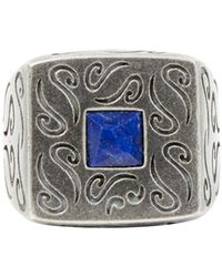 Marco Dal Maso - Sterling Silver Squared Ring With Lapis Lazuli - Lyst