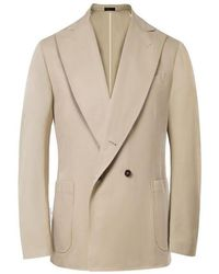 Rubinacci - Beige Unlined Double Breasted Cotton Jacket - Lyst