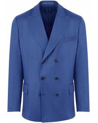 New & Lingwood - Mid-blue Clark Wool Flannel Double-breasted Jacket - Lyst