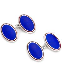 Budd Shirtmakers Blue And Red Enamel And Silver Starburst Cufflinks