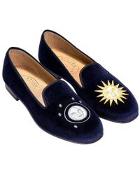 Stubbs & Wootton - Blue Embroidered Night And Day Velvet Slippers - Lyst