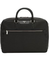 Serapian - Black Stepan Spread Cotton And Calf Leather Slim Document Briefcase - Lyst