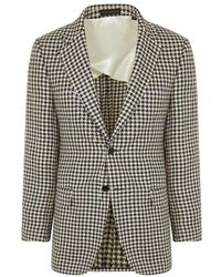 New & Lingwood - Navy And Cream Houndstooth Linen Single Breasted 'larch' Jacket - Lyst