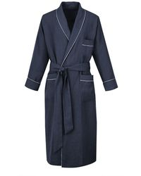 Anderson & Sheppard - Navy Linen Dressing Gown - Lyst