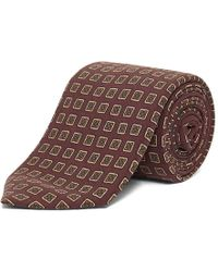 Chester Barrie - Dark Red Foulard Small Square Print Silk Tie - Lyst