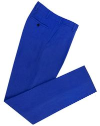 Anderson & Sheppard - Royal Blue High Waisted Linen Trousers - Lyst