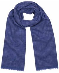 Anderson & Sheppard - Blue And White Tubular Cotton Spotted Scarf - Lyst
