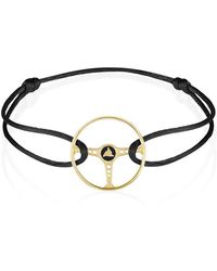 The Mechanists - 14k Gold On Black Silk Cord Ecurie Ecosse Steering Wheel Bracelet - Lyst