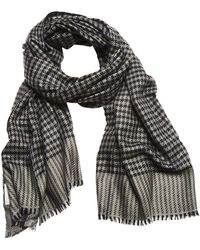 750b7445beb84 Anderson & Sheppard Navy And Gray Woven Houndstooth Cashmere Scarf