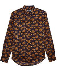 Vilebrequin - Navy Prehistoric Fish Print Cotton Voile Shirt - Lyst