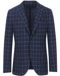 Lardini - Navy And Light Blue Check Cotton Blend Single-breasted Blazer - Lyst