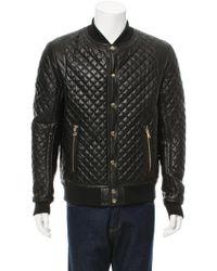 Balmain Quilted Leather Bomber Jacket in Black for Men | Lyst