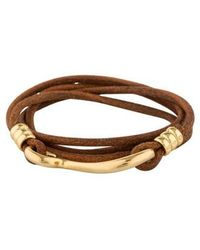Giles & Brother - Leather Hook Wrap Bracelet Gold - Lyst