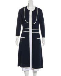 Peter Som - Silk Long Sleeve Sweater Navy - Lyst
