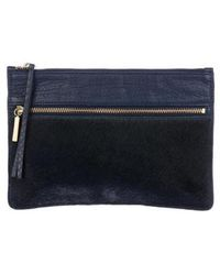 By Malene Birger - Ponyhair & Leather Zip Pouch W/ Tags Navy - Lyst