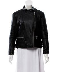MICHAEL Michael Kors - Michael Kors Leather Zip- Up Jacket Black - Lyst