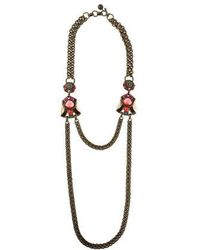 Lanvin - Tiger's Eye Quartz & Crystal Double Chain Necklace Brass - Lyst