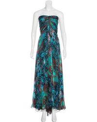 Naeem Khan - Silk Printed Gown Aqua - Lyst