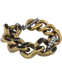 Lanvin - Two-tone Crystal Curb Chain Bracelet Gold - Lyst