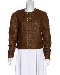 MICHAEL Michael Kors - Michael Kors Embellished Leather Jacket - Lyst