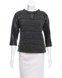 Gryphon - Patterned Leather-accented Sweater Black - Lyst