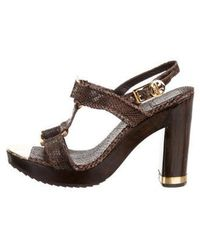 9e6f6dc7ab9a Tory Burch - Embossed Leather Ankle Strap Sandals Brown - Lyst