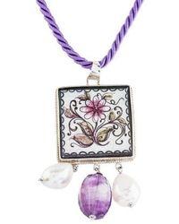 Tagliamonte - Pearl, Amethyst & Ceramic Pendant Necklace Silver - Lyst