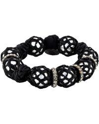 Lanvin - Faux Pearl Raffia Wrapped Bracelet Silver - Lyst
