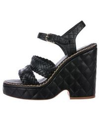 Chanel - 2015 Quilted Platform Sandals Black - Lyst