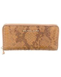 7ac774726f55d MICHAEL Michael Kors - Michael Kors Embossed Leather Continental Wallet  Beige - Lyst