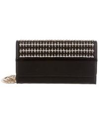Lanvin - Embroidered Wallet On Chain Black - Lyst