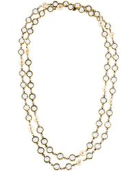 Chanel - Crystal & Faux Pearl Sautoir Necklace Gold - Lyst