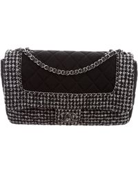 Chanel - Tweed And Jersey Flap Bag Black - Lyst