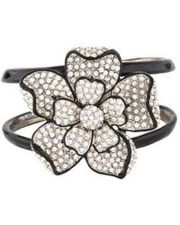 Kenneth Jay Lane - Crystal & Enamel Flower Hinged Bracelet Silver - Lyst