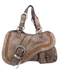 9457f5b7ca57 Lyst - Dior Leather Gaucho Bag Black in Metallic