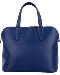 Valextra - Textured Leather Handle Bag Blue - Lyst