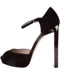 Miu Miu - Miu Suede Embellished Sandals - Lyst